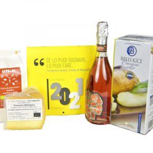 Pacco regalo natalizio con sei prodotti tradizionali